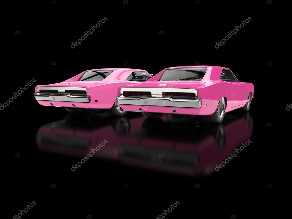 Funny pink muscle cars - rear view - on black reflective background ...