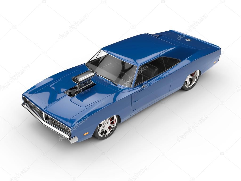Cool blauwe spier auto - bovenaanzicht - studio verlichting ...