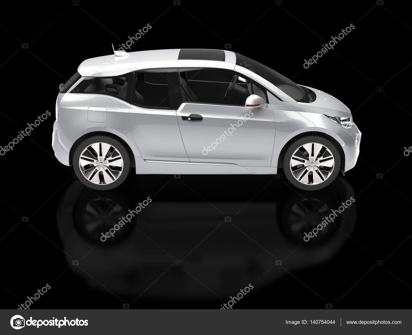 Zilver Metallic Kleine Elektrische Auto Zijaanzicht Stockfoto