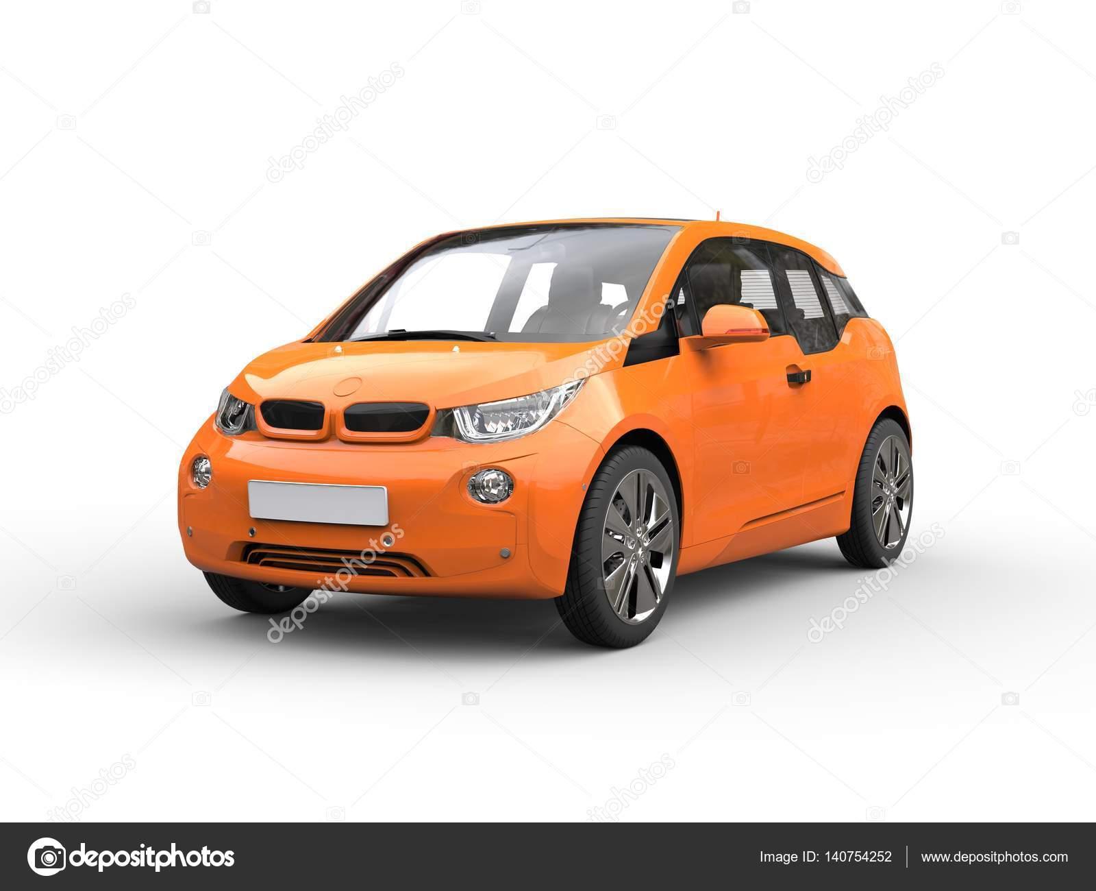 Oranje Kleine Elektrische Auto Stockfoto C Trimitrius 140754252