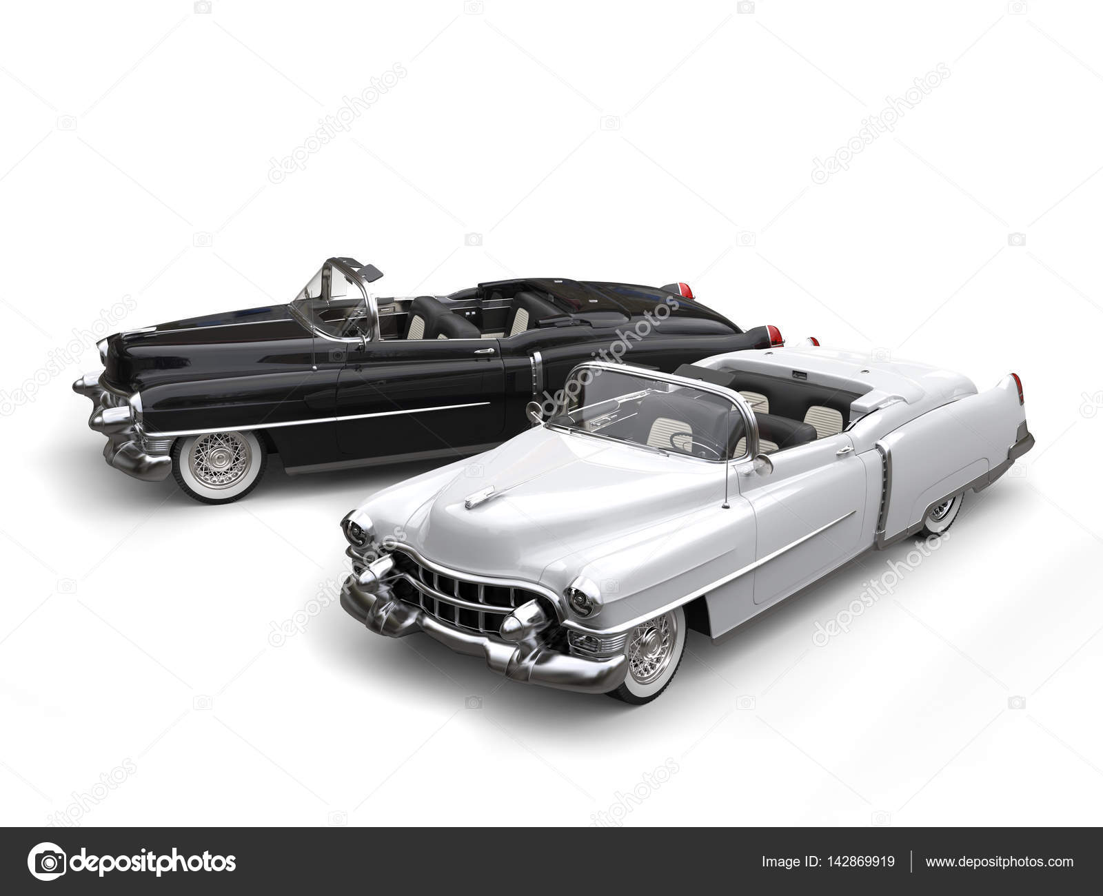 Two awesome black and white vintage cars - top view — Stock Photo ...