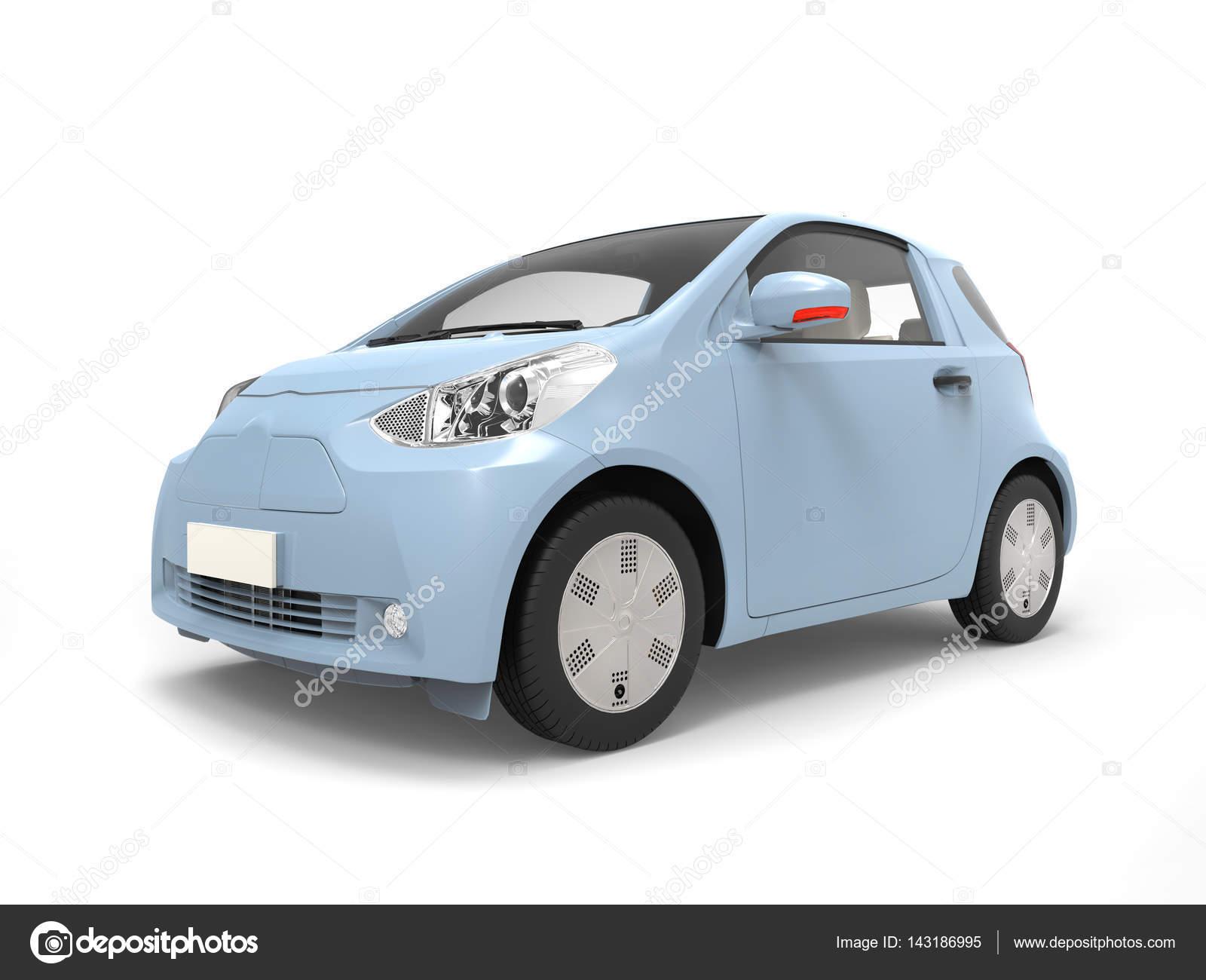 Pastel Blauwe Kleine Stedelijke Moderne Elektrische Auto Stockfoto