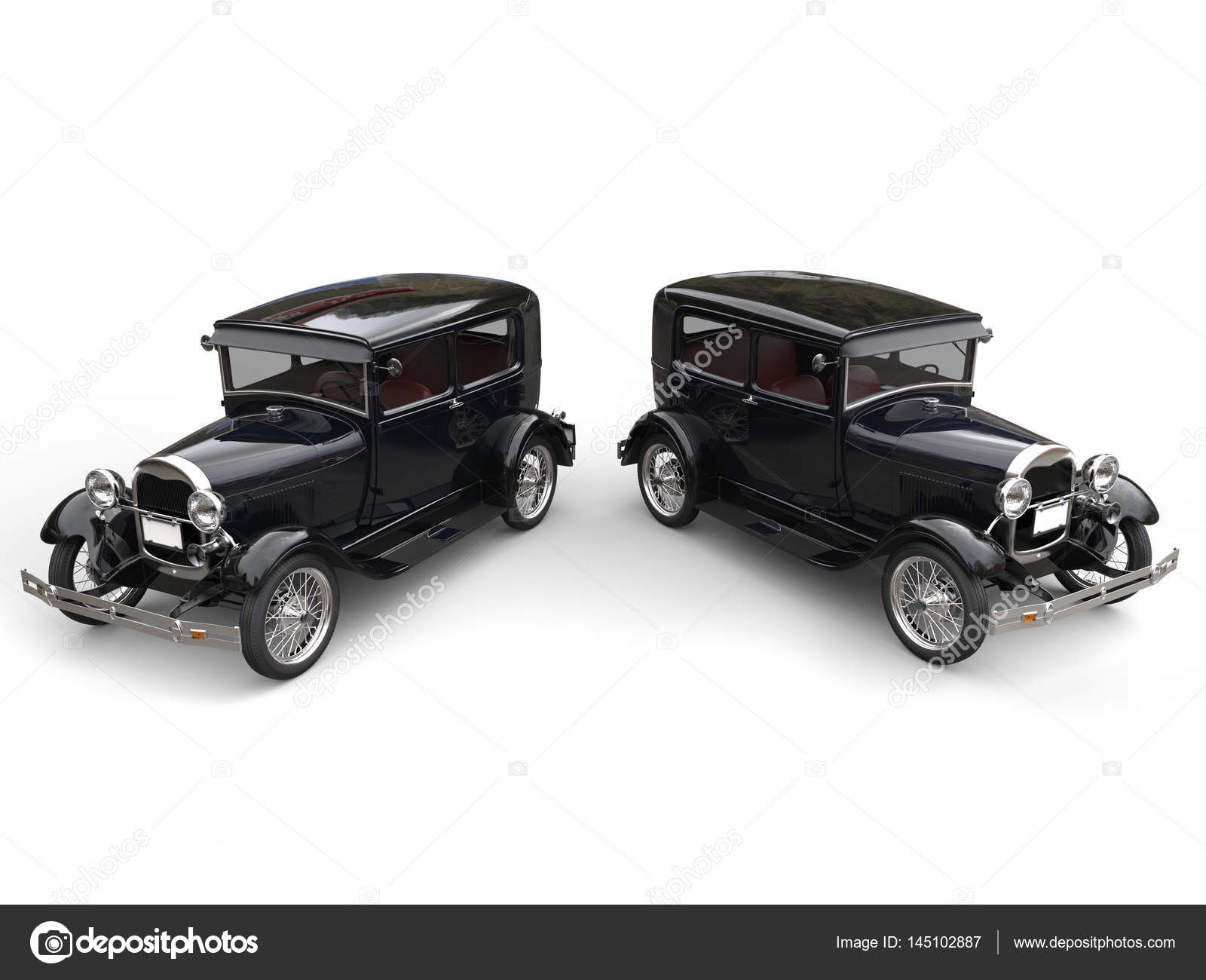 Two beautiful 1920s vintage cars - side by side - top view - 3D ...