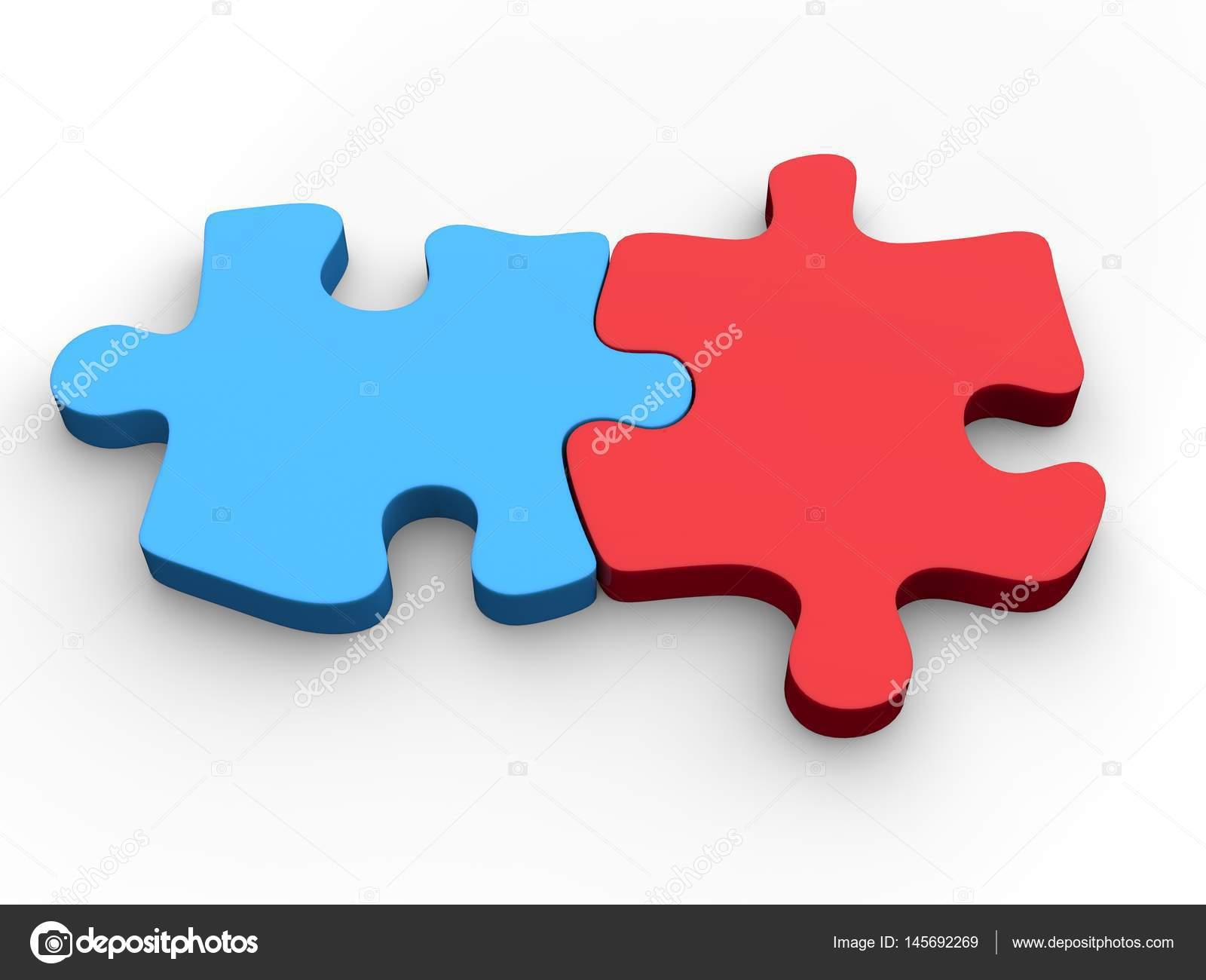 Piezas De Rompecabezas De Rojo Y Azul Juntos