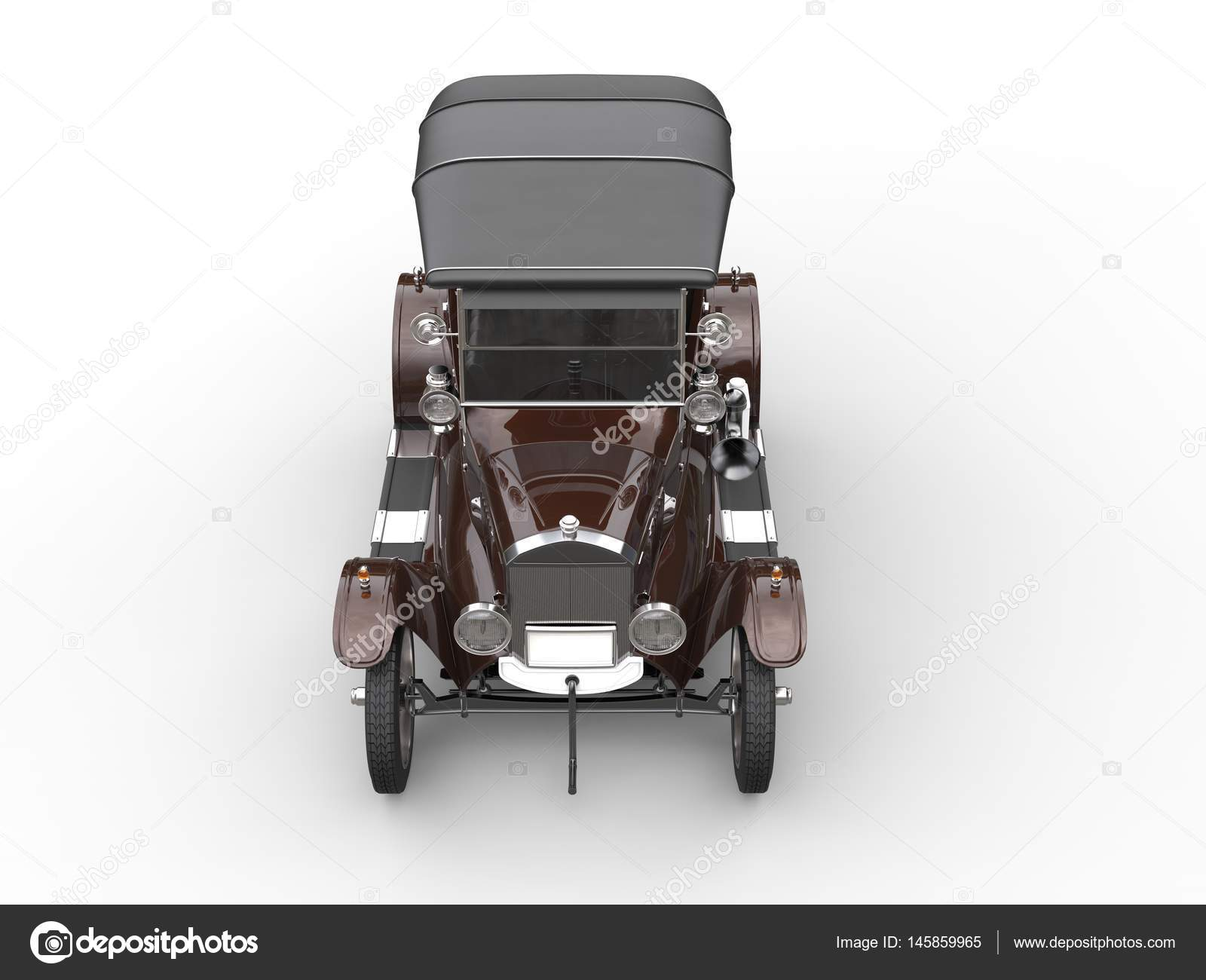 Brown vintage car - restored - top down view – Stock Editorial Photo ...
