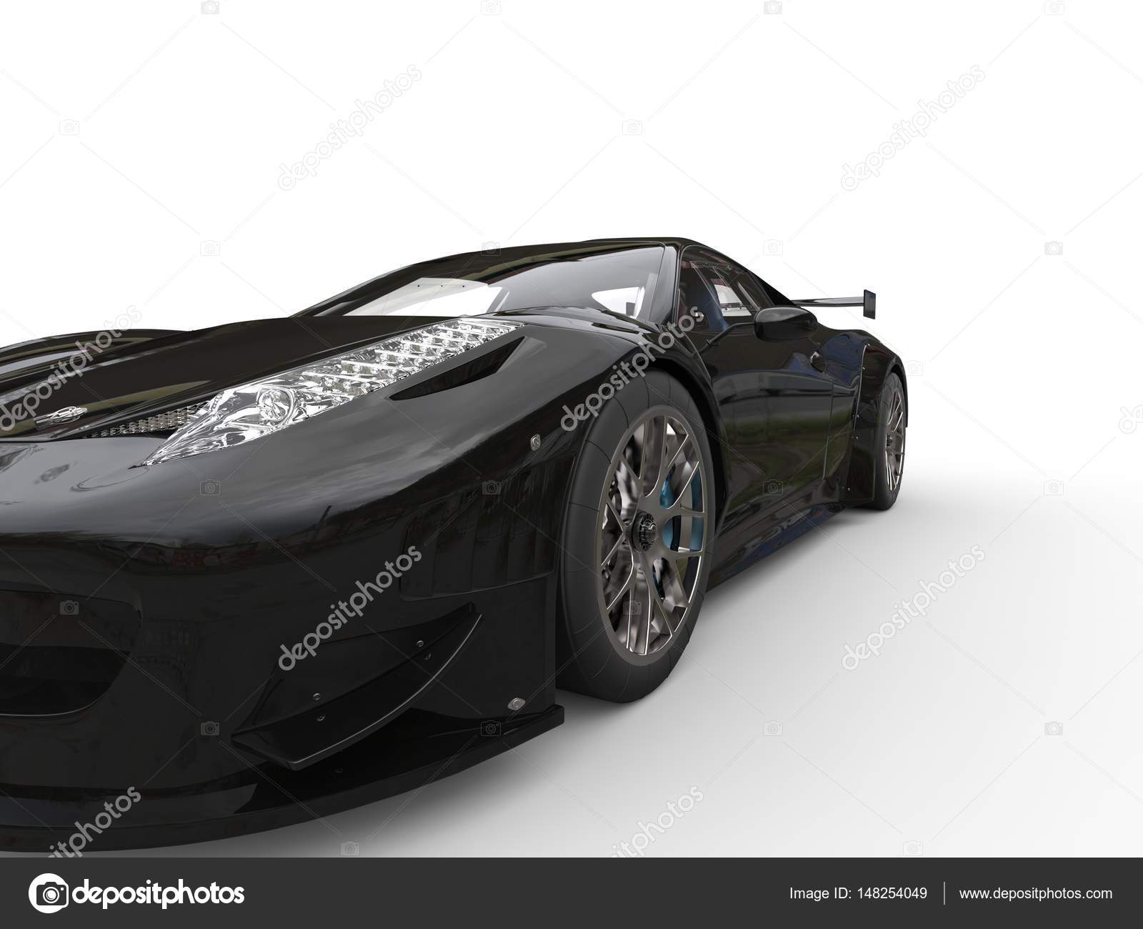 Shiny Jet Black Sports Car Headlight Closeup Shot Stock Photo