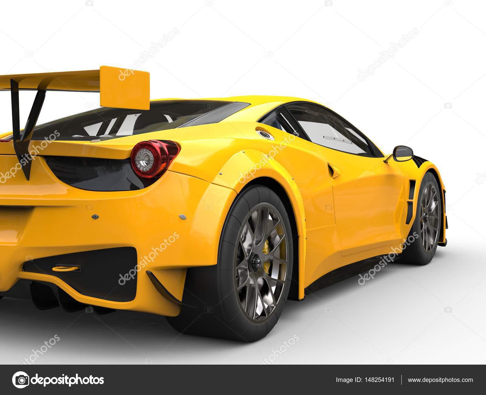 Güneş Sarı Yarış Arabası Arkadan Görünüm Stok Foto Trimitrius
