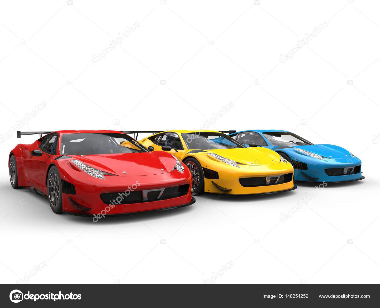 Modern luxury sportscars in red, yellow and blue paint colors ...