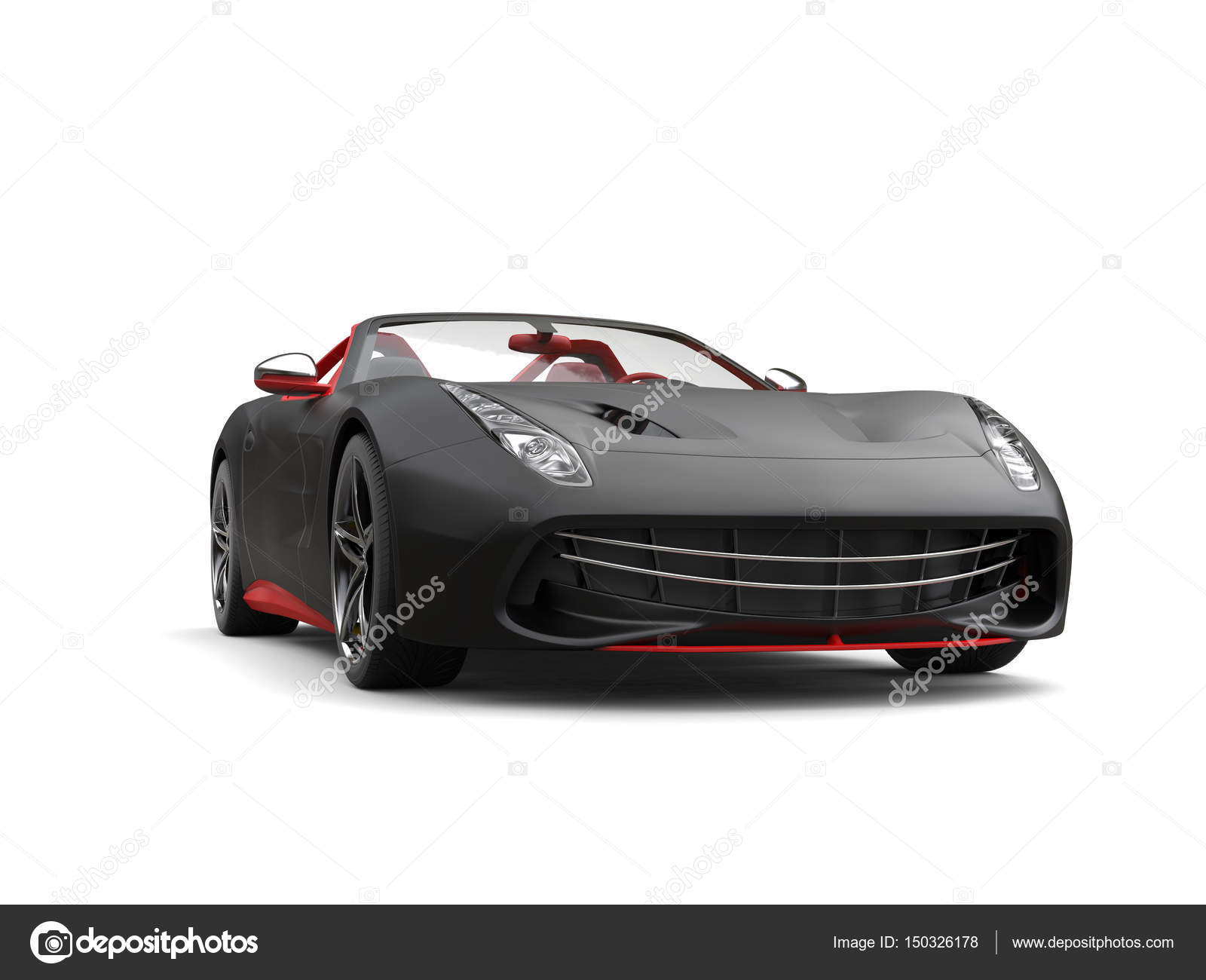 Fast Sports Car, Matte Black Paint With Red Details U2014 Stock Photo #150326178