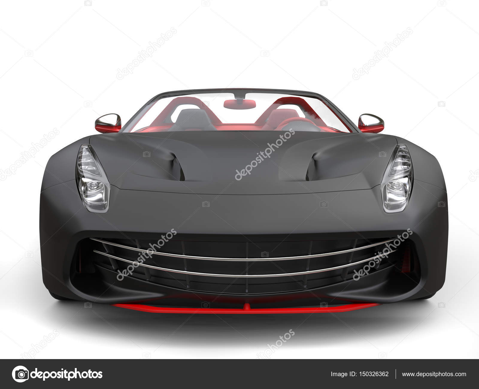 Cutting Edge Sports Car   Matte Black With Fiery Red Details   Front View  Closeup U2014 Photo By Trimitrius