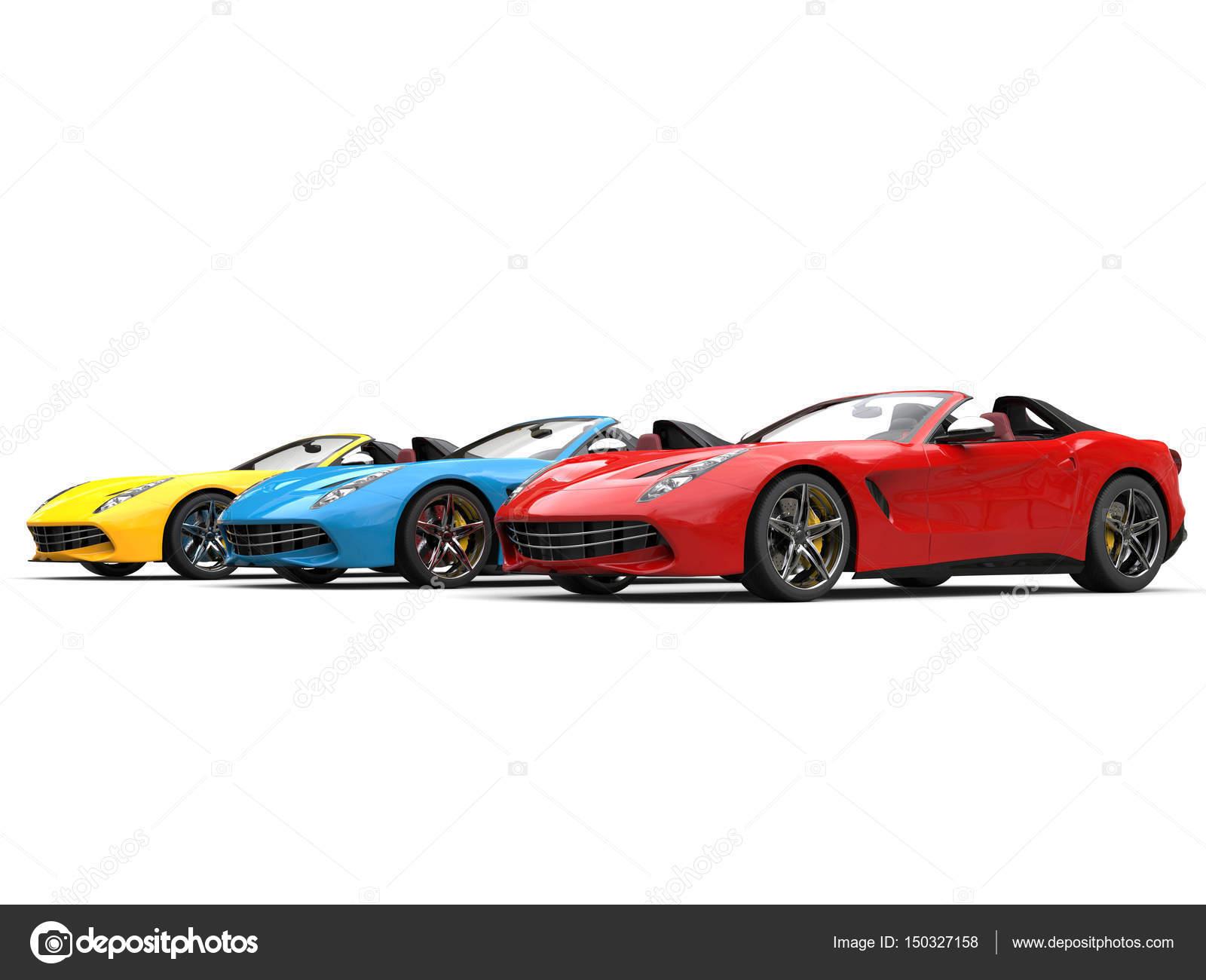 Kırmızı Mavi Ve Sarı Modern üstü Açık Spor Araba Stok Foto