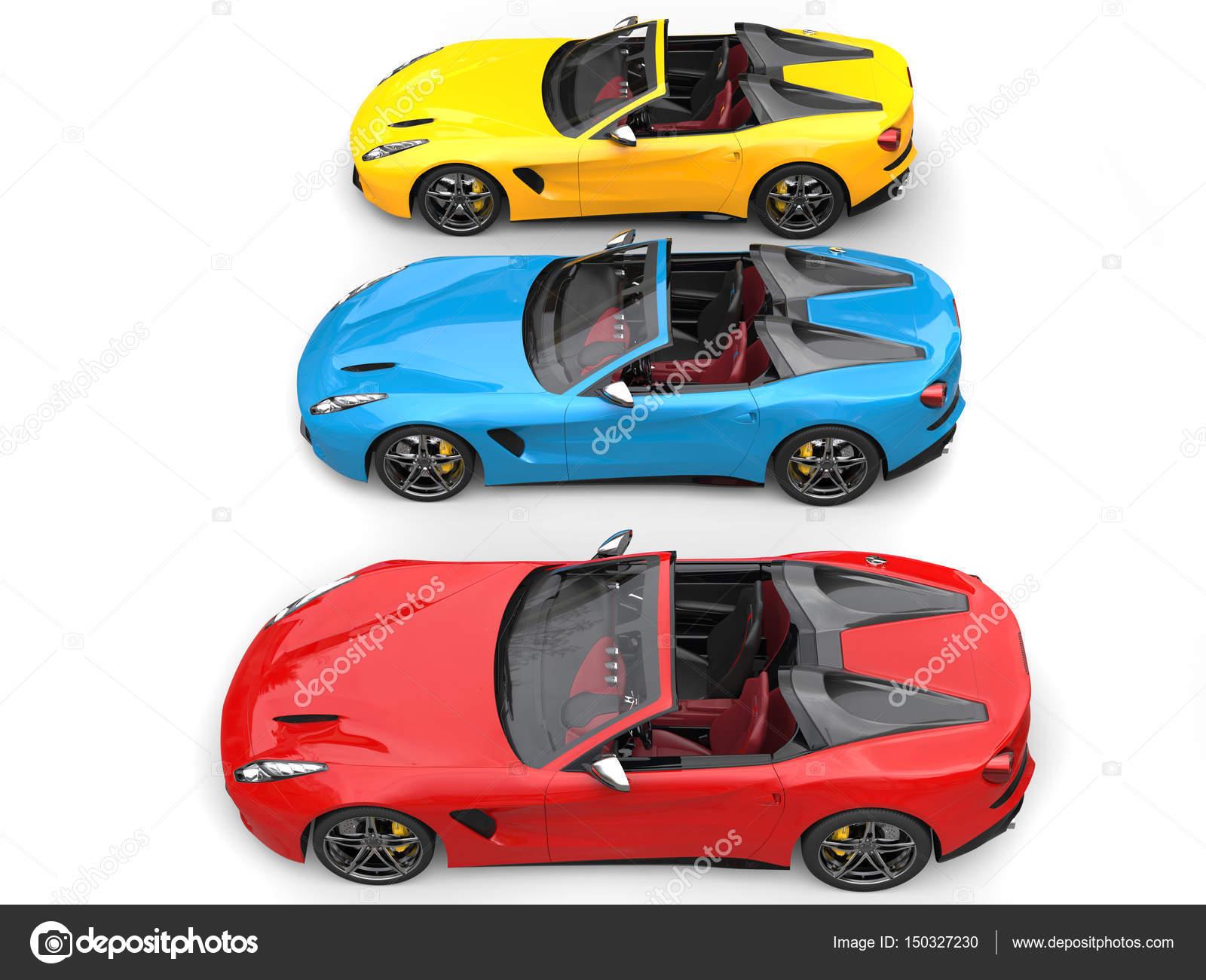 Kırmızı Mavi Ve Sarı Modern üstü Açık Spor Araba Yan Yana Stok