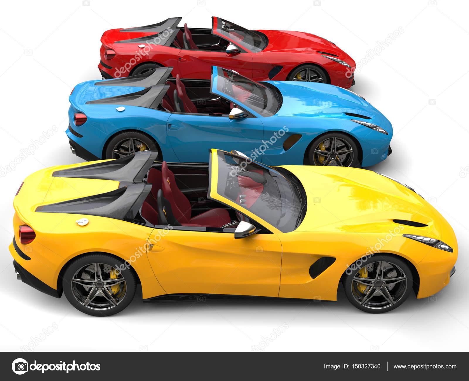 Kırmızı Mavi Ve Sarı Modern üstü Açık Spor Araba Yan Görünüm