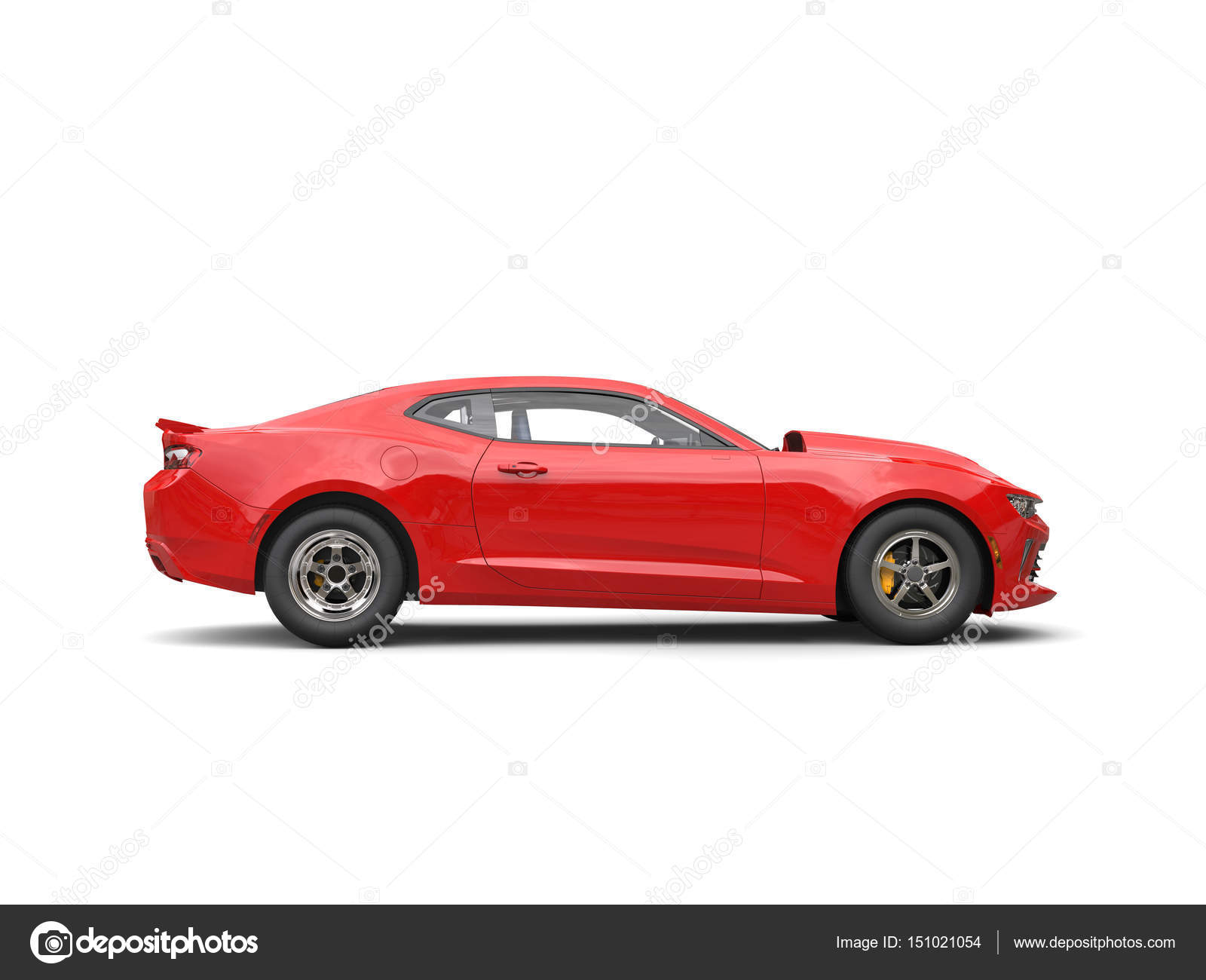 Fire Red Modern Muscle Car Side View 3d Render Stock Photo