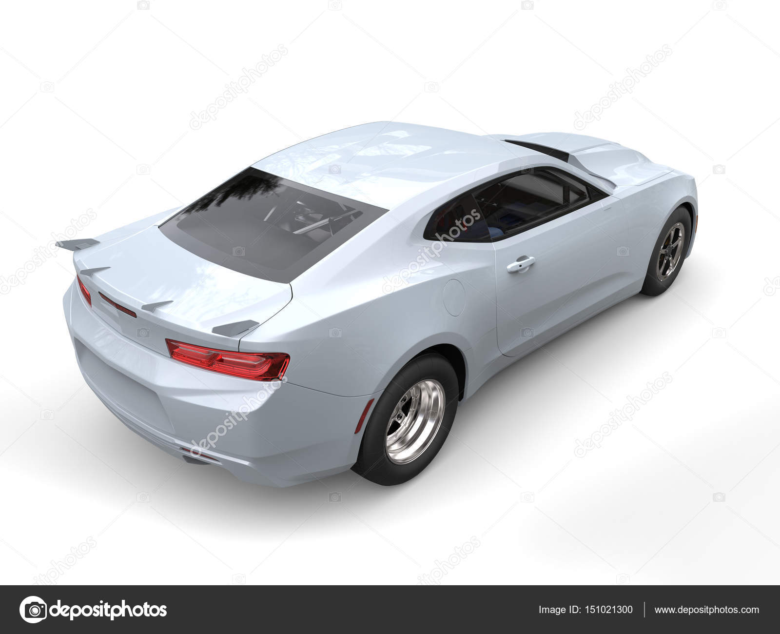 Ghost White Modern Muscle Car Rear Side View 3d Illustration