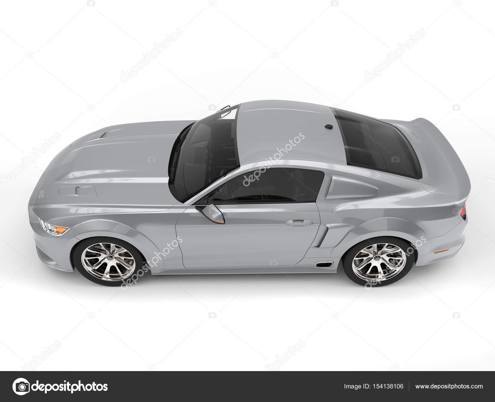 Super Silver Urban Muscle Car Side View Stock Photo C Trimitrius
