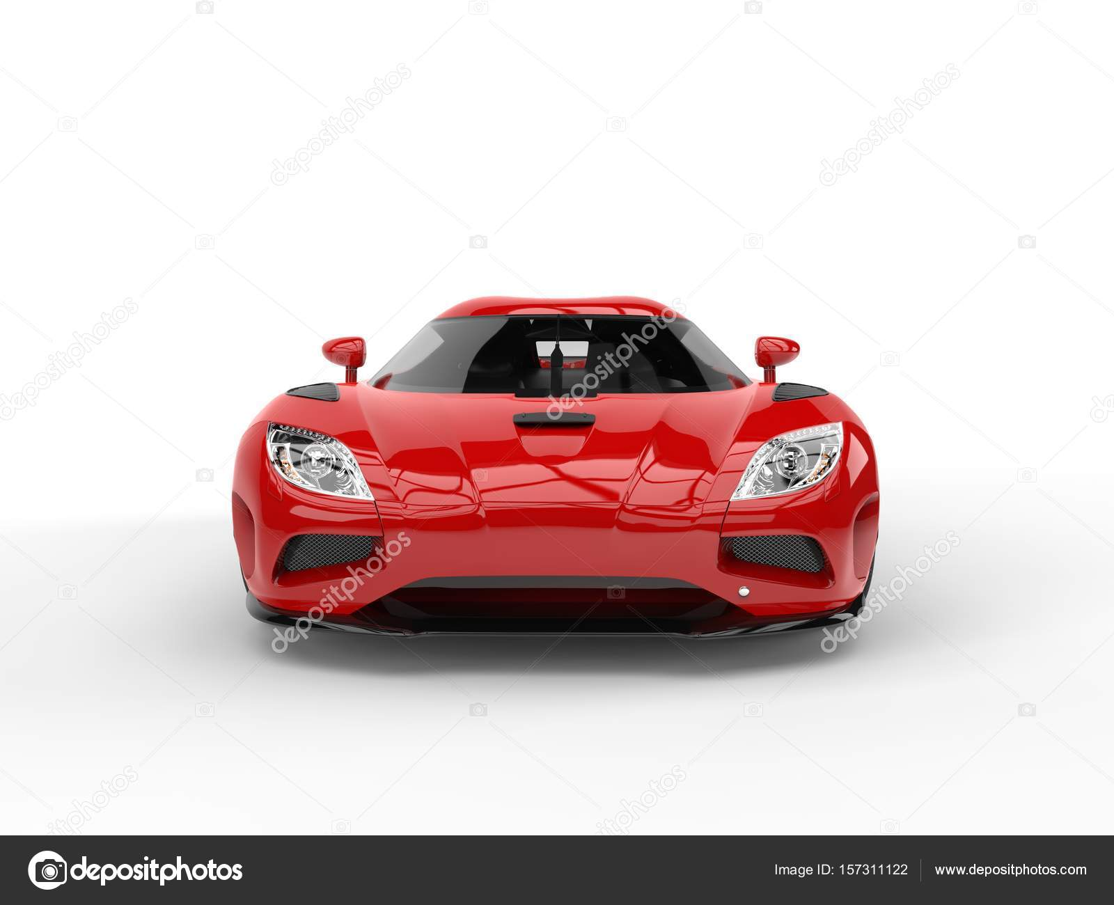 Beautiful Scarlet Red Futuristic Sports Car Front View Stock