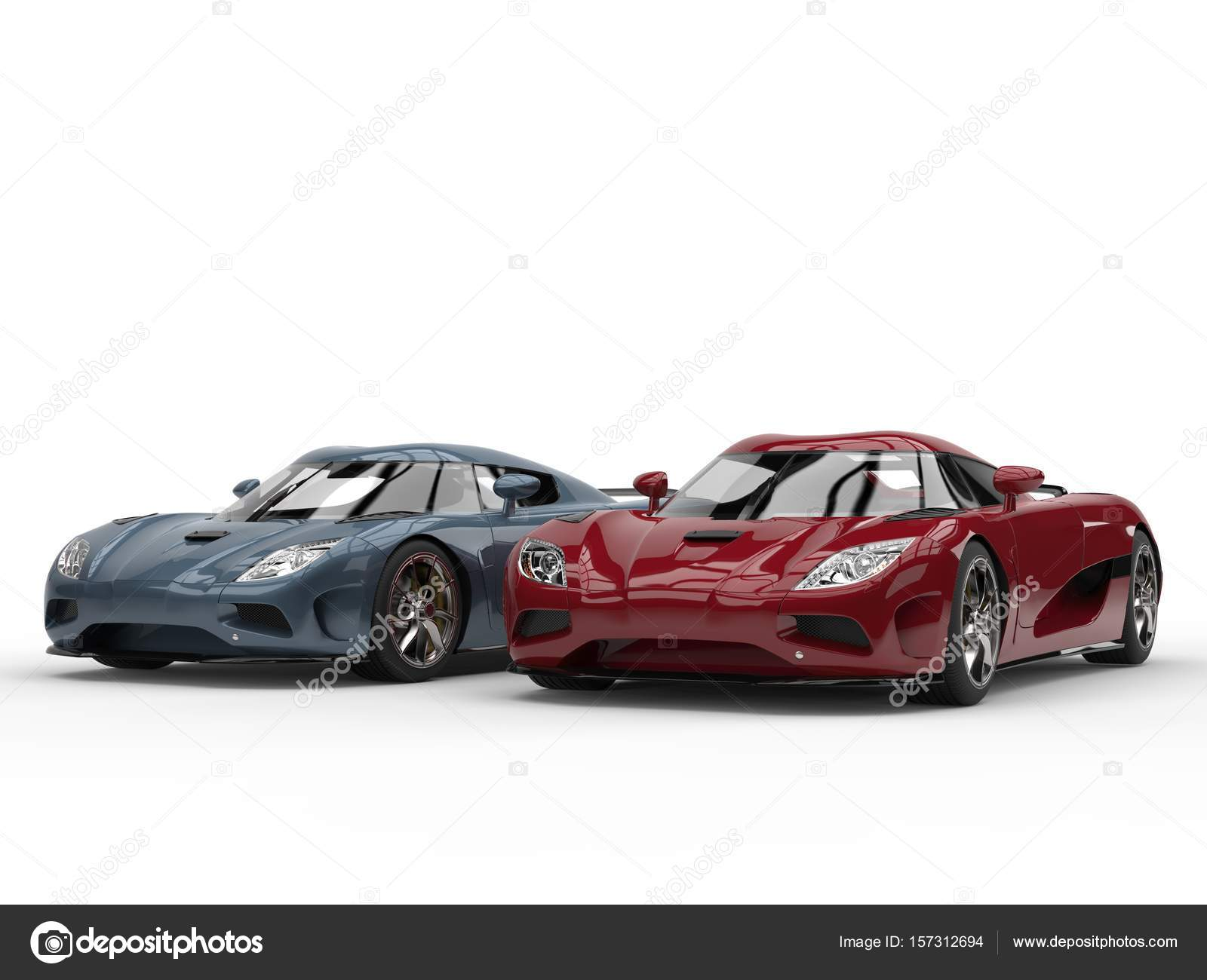 Cool Concept Sports Cars In Metallic Cherry Red And Steel Blue