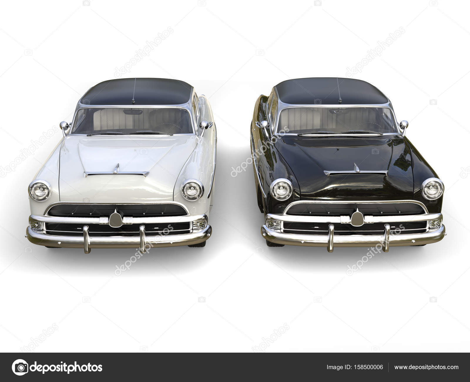 Black and white awesome vintage cars - top front view – Stock ...