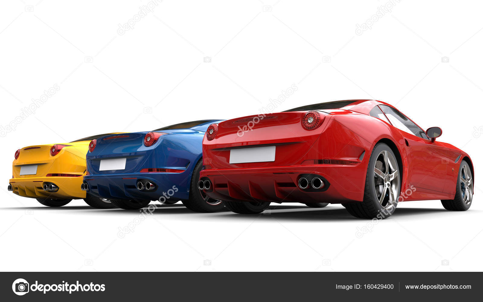 Red, blue and yellow modern luxury sports cars - tail view — Stock