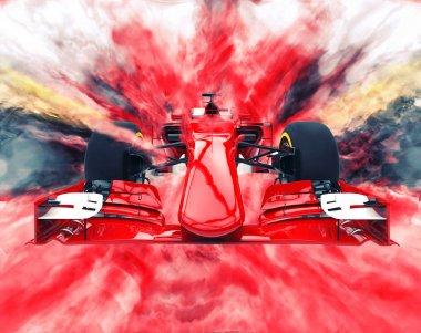 Red formula one car - color explosion