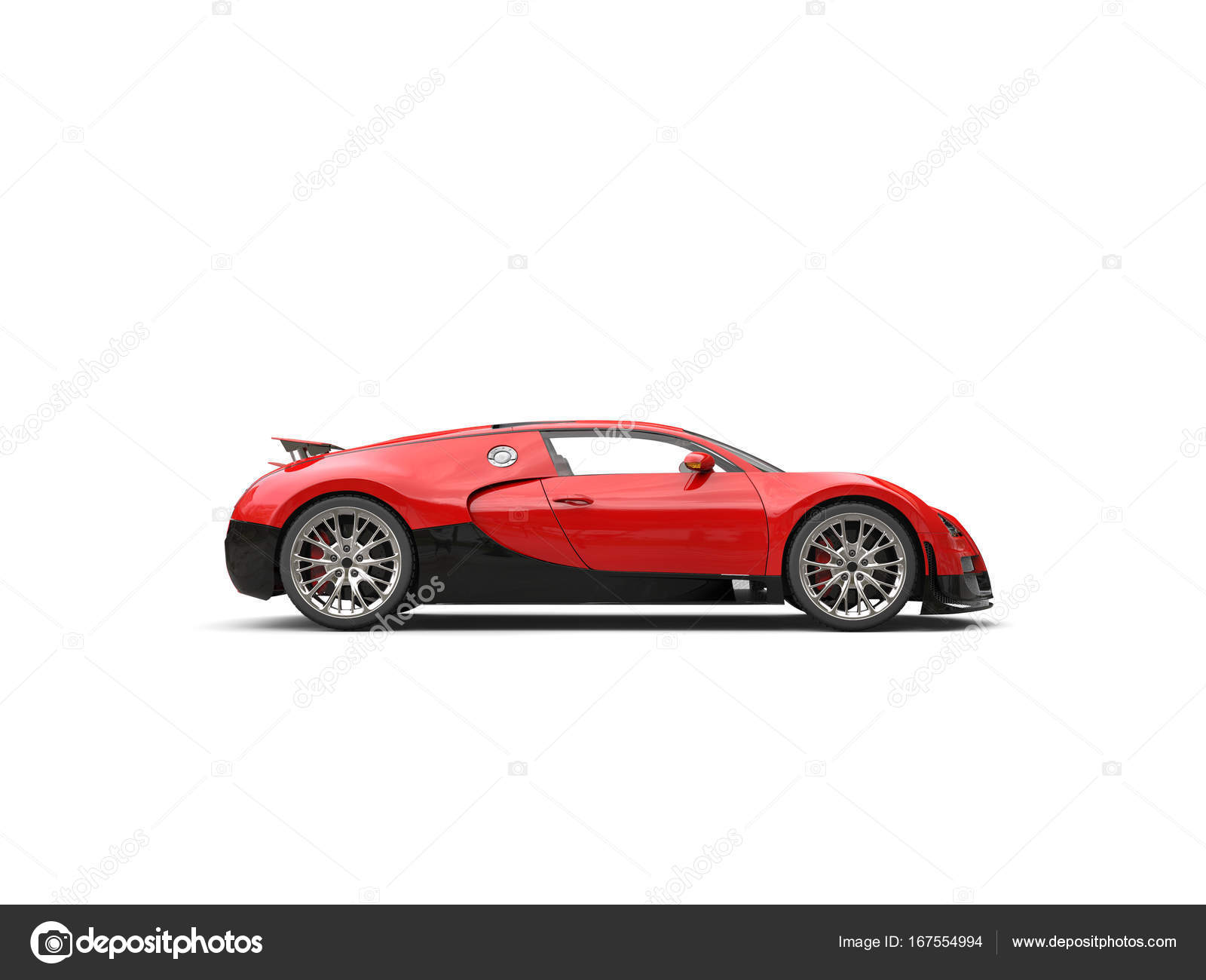 Black and red modern awesome supercar side view — Stock