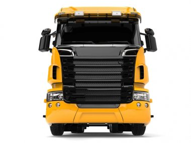 Yellow modern heavy transport truck - front view