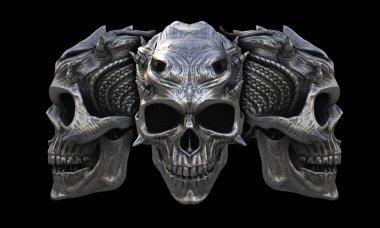 Heavy metal horned demon skulls