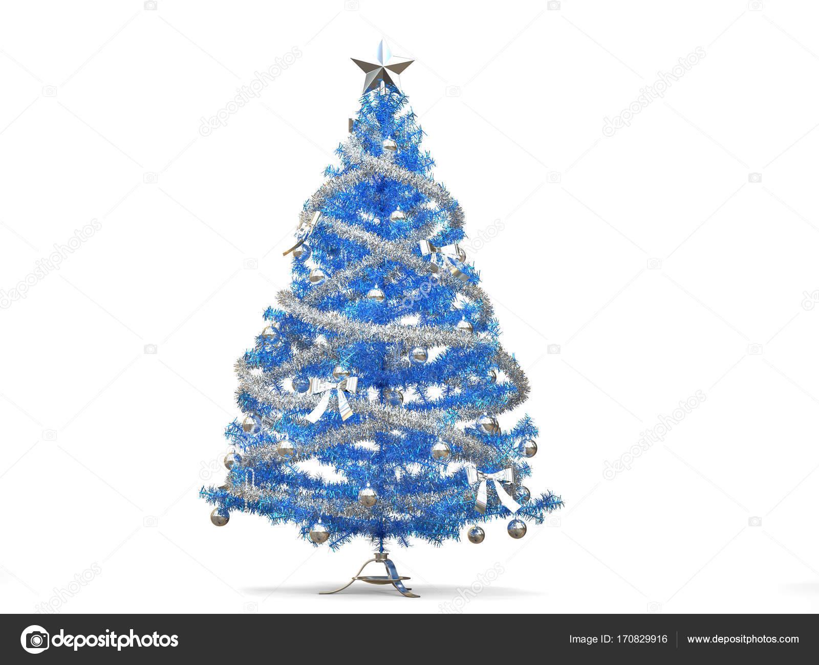 Albero Di Natale Con Decorazioni Blu : Albero di natale blu lucido con tinsel argento e decorazioni u2014 foto