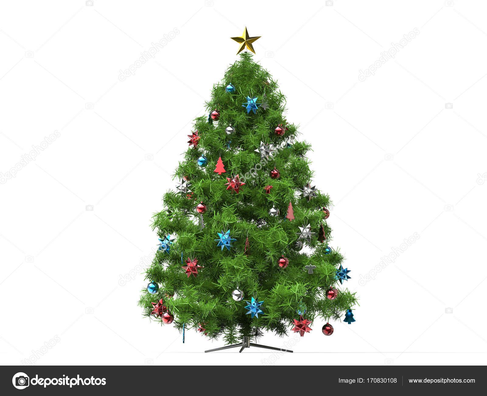 Традиционная елка с красными и голубыми украшениями ...