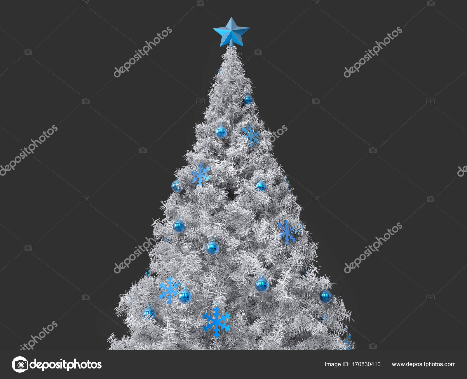 beautiful white christmas tree with blue decorations photo by trimitrius