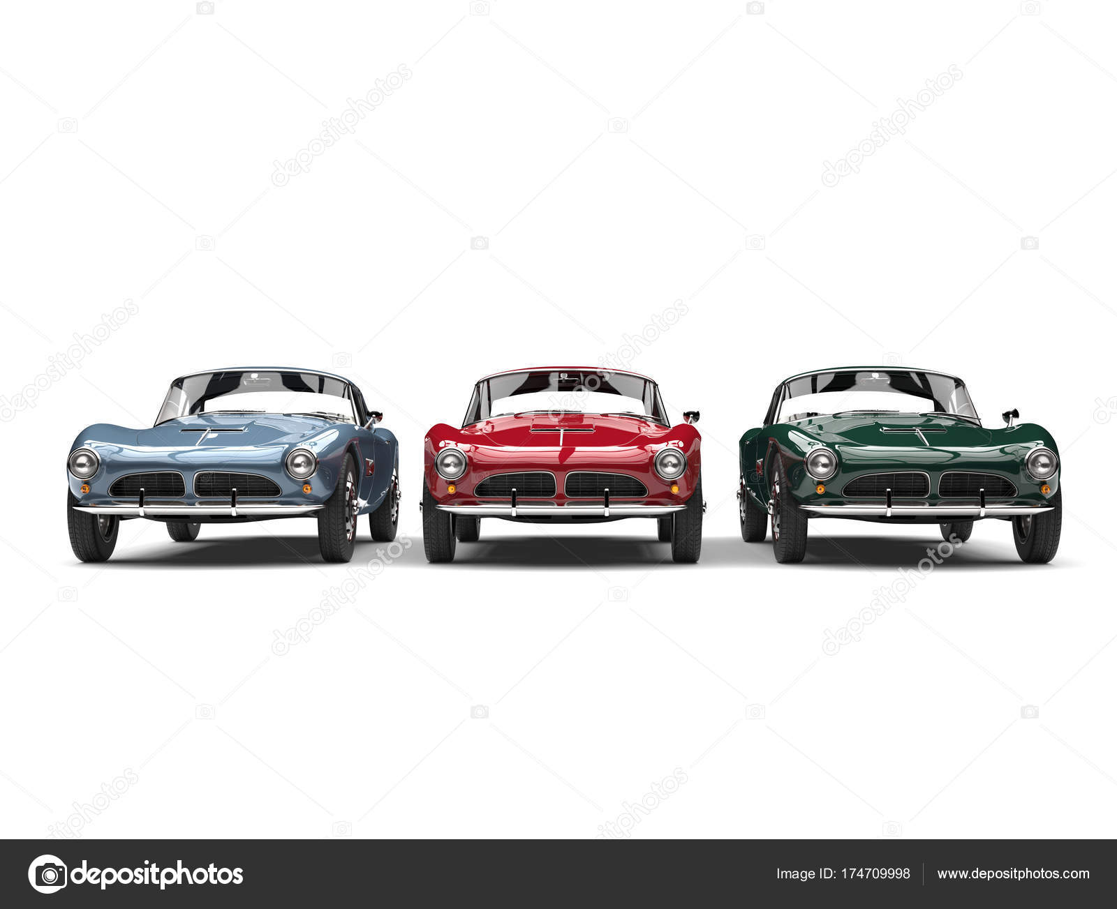 Awesome vintage sports cars in old school red, green and blue ...