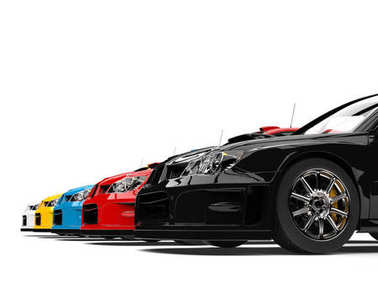 Modern colorful GT race cars - low angle shot