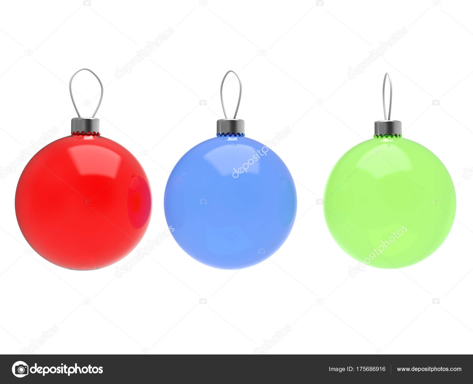 Glass Christmas Decoration Balls Red Green Blue — Stock Photo