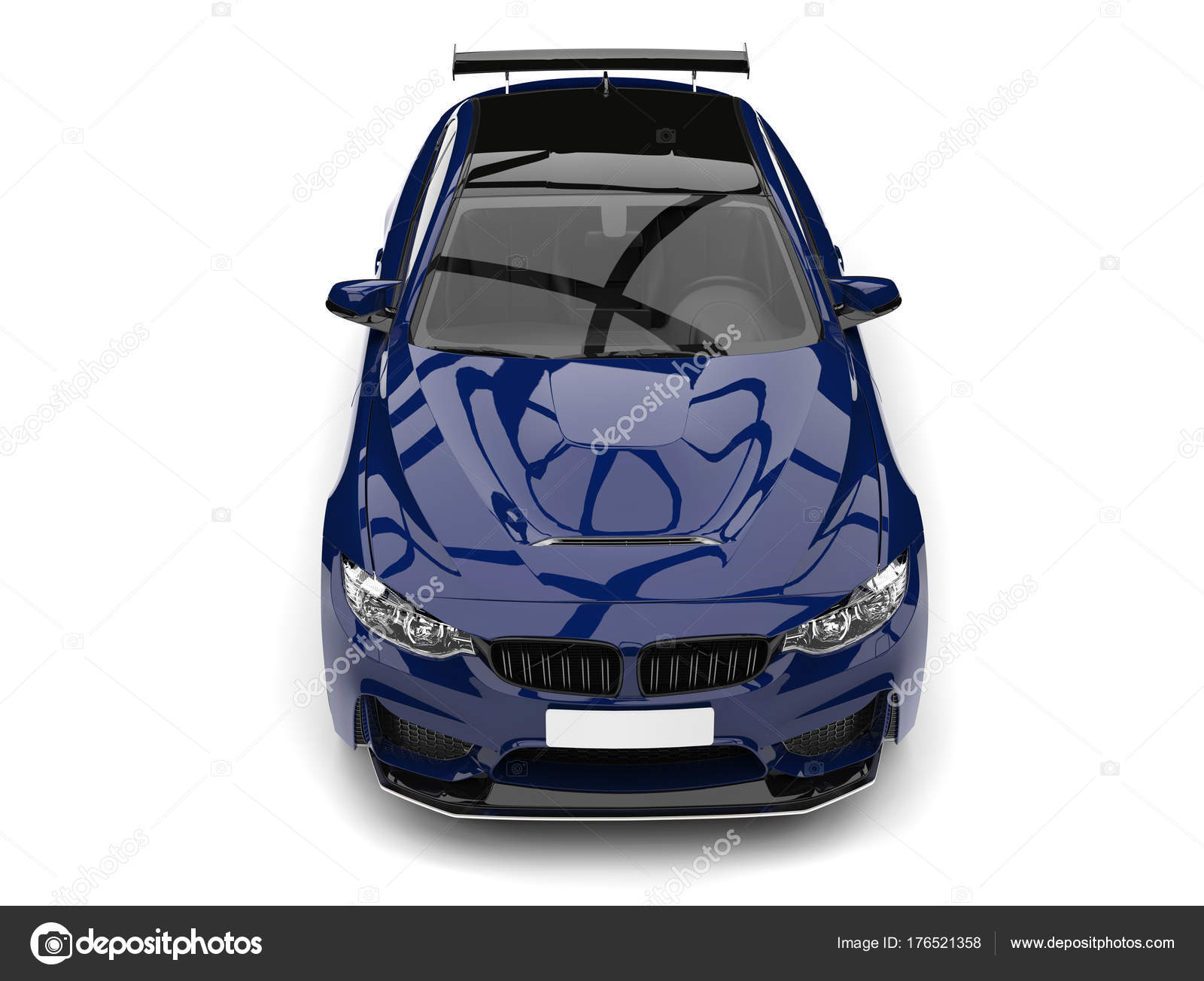 Dark Imperial Blue Modern Sports Car Top Front View Stock Photo