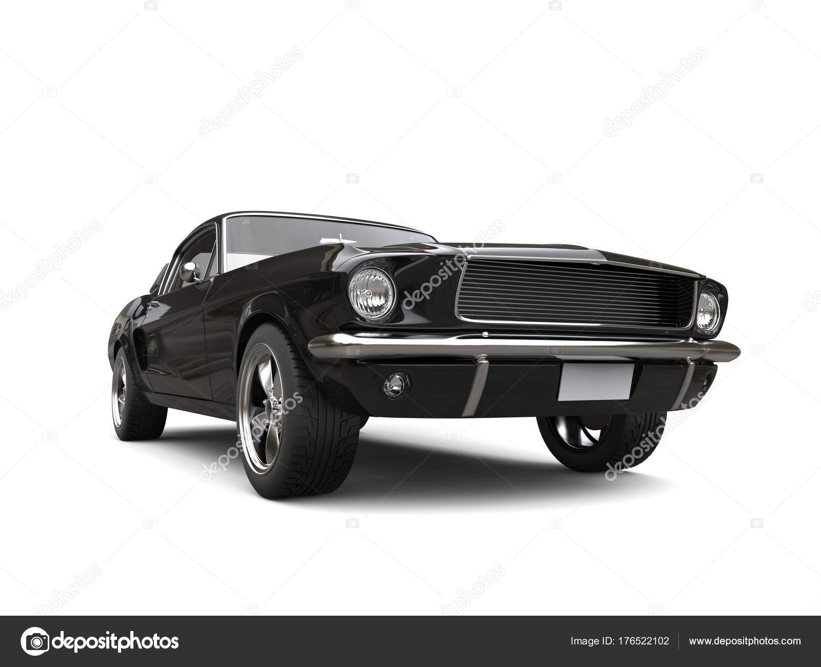 Black American Vintage Muscle Car Low Angle Shot — Stock Photo ...