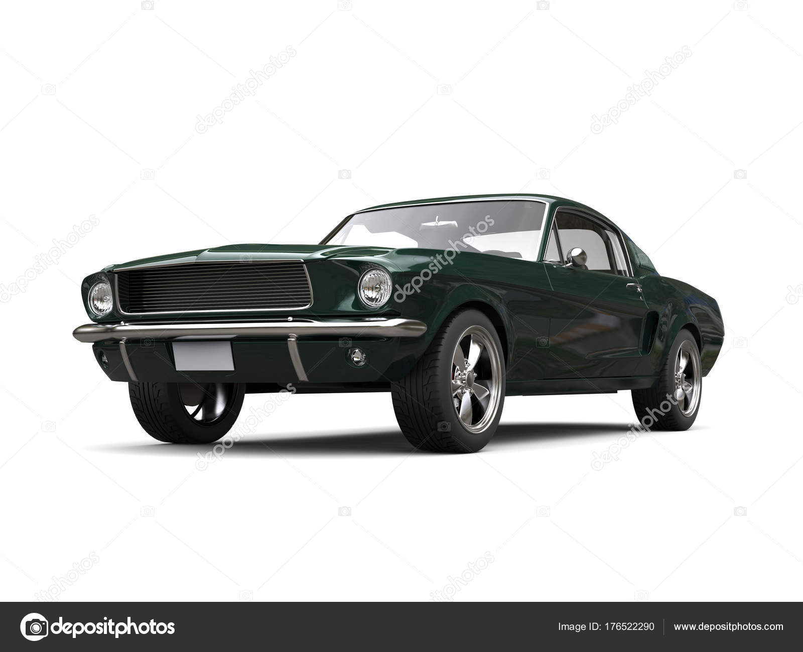Dark Green American Vintage Muscle Car Restored Mint Condition ...