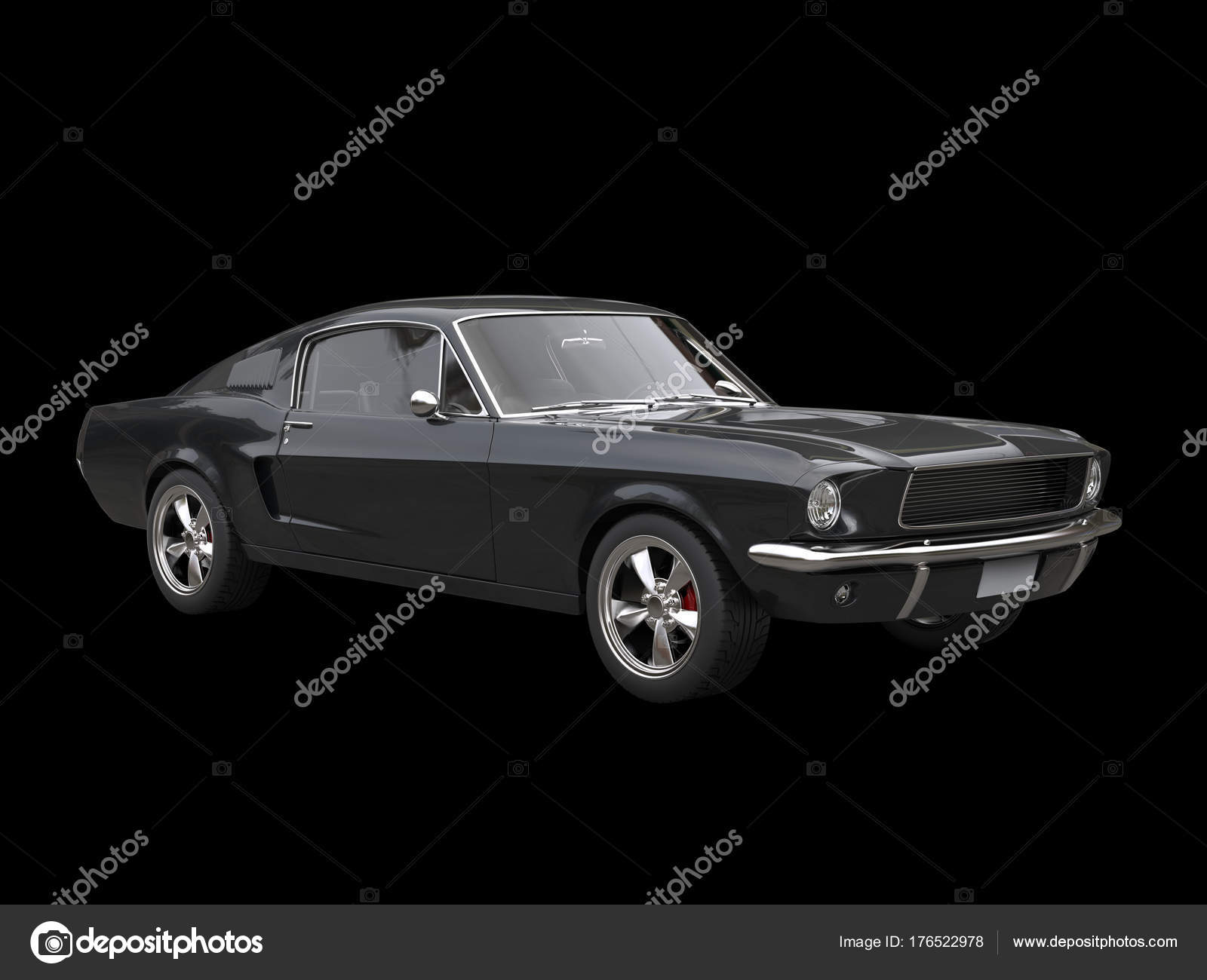 Grim Black Vintage American Muscle Car Black Background — Stock ...
