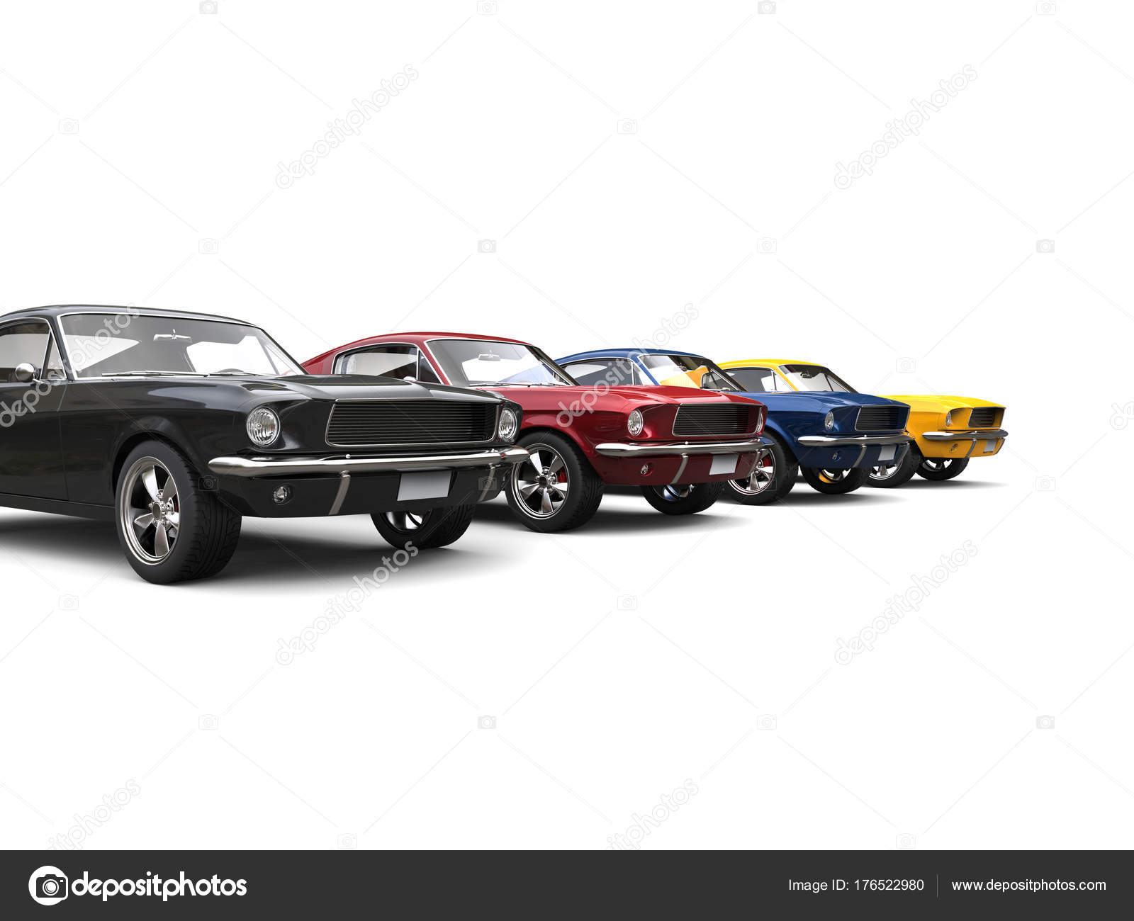 Amazing Vintage American Muscle Cars Cool Metallic Colors — Stock ...