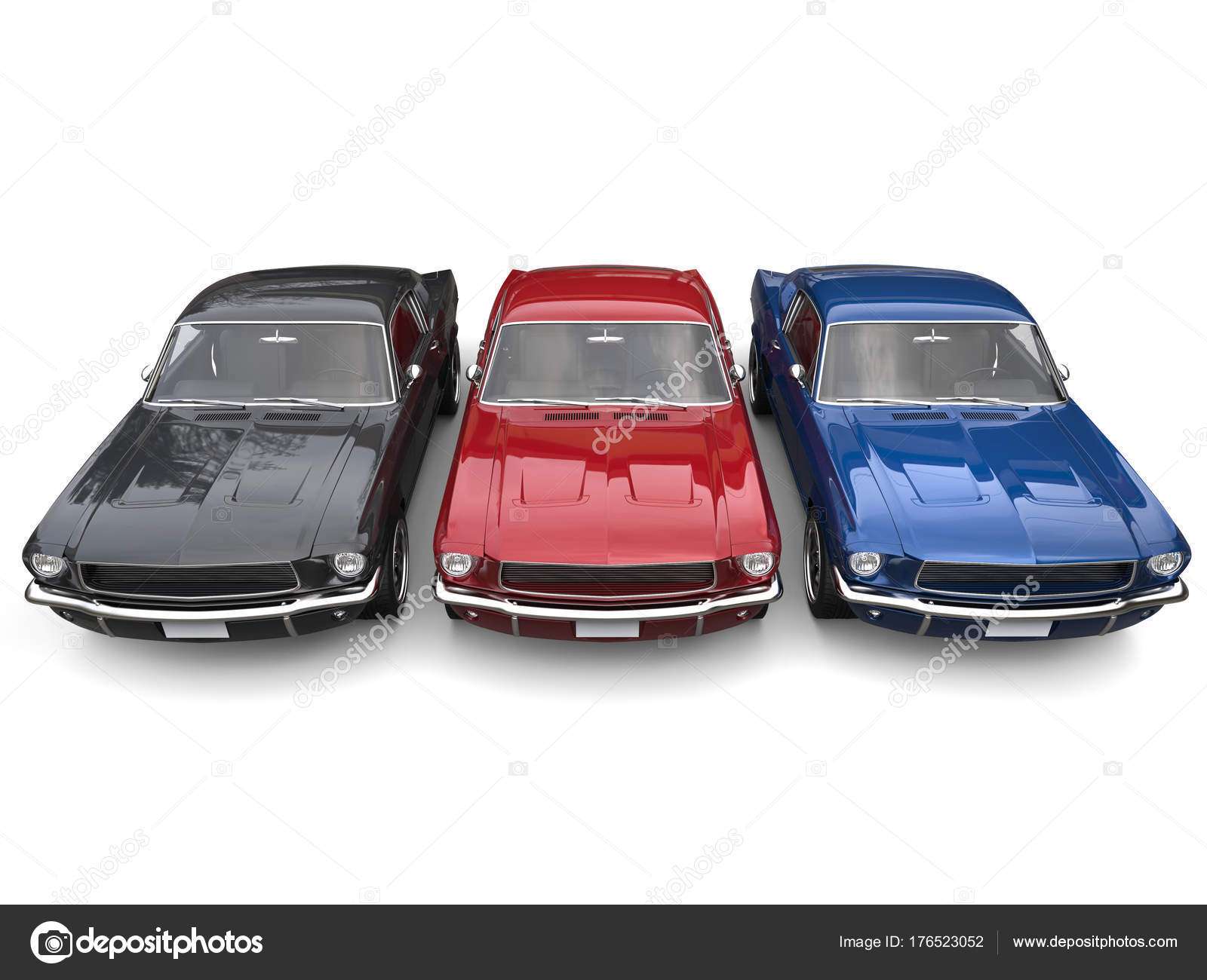 Beautiful Restored Vintage American Muscle Cars Blue Red Black Top ...