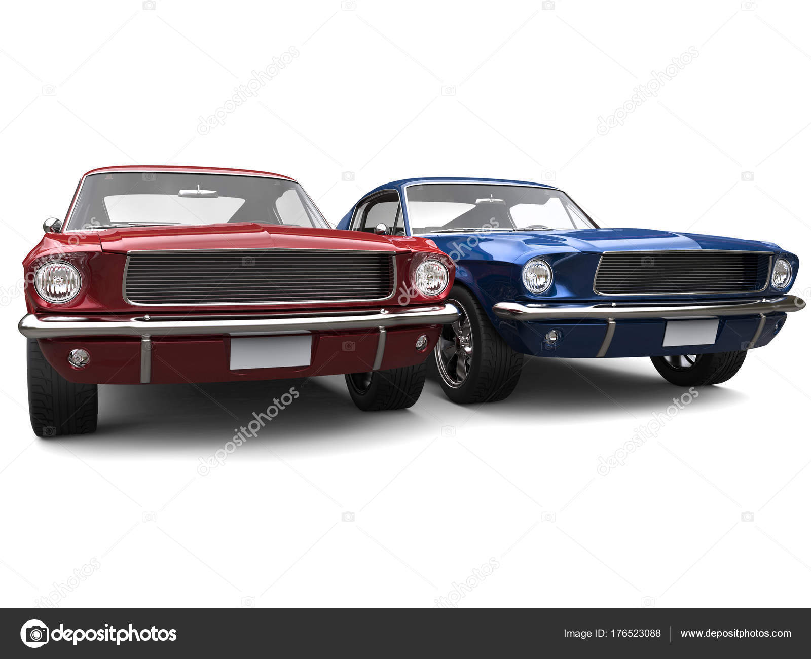 Amazing Vintage American Muscle Cars Red Blue — Stock Photo ...