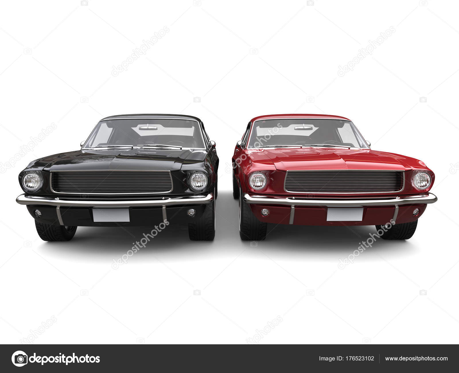 Amazing Vintage American Muscle Cars Red Black — Stock Photo ...