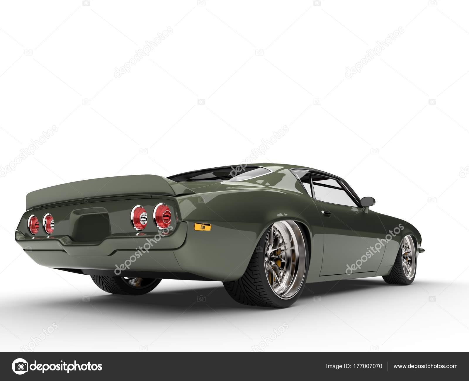 Deep Metallic Green Classic Old School American Car Tail View ...