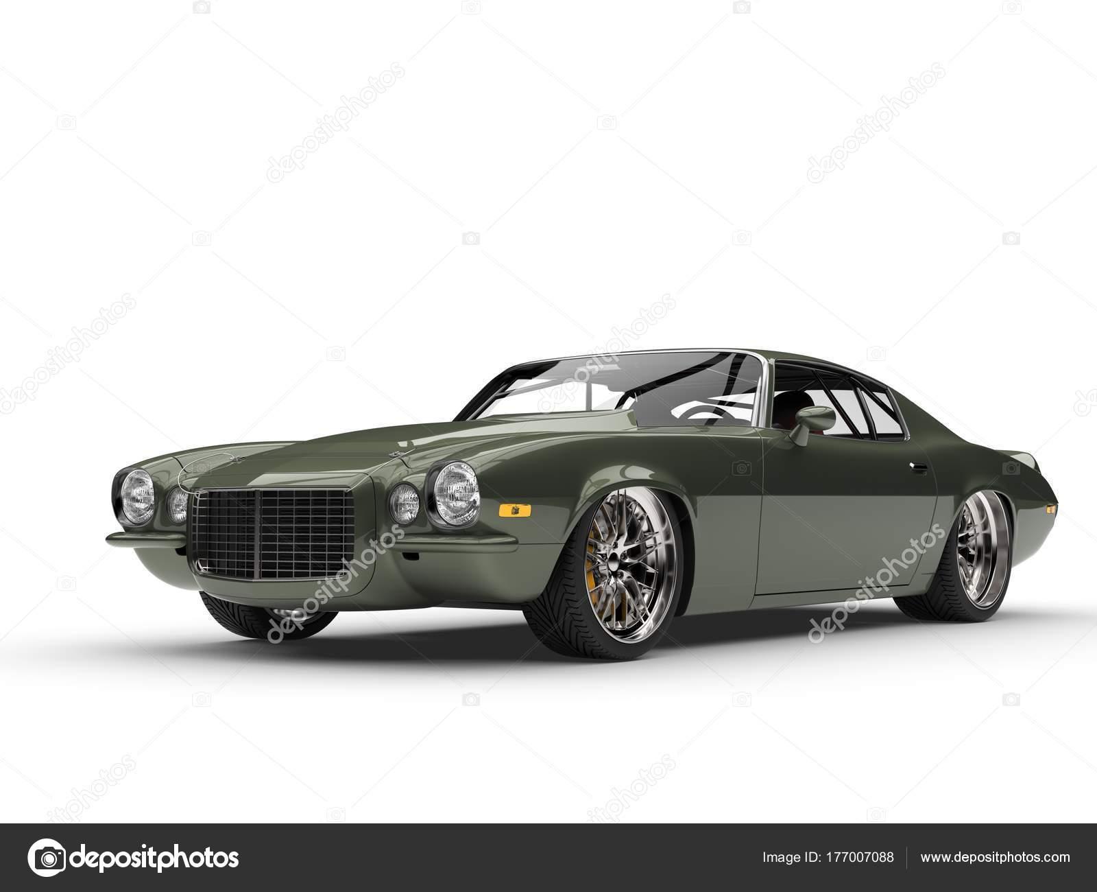 Deep Metallic Green Classic Old School American Car Beauty Shot ...