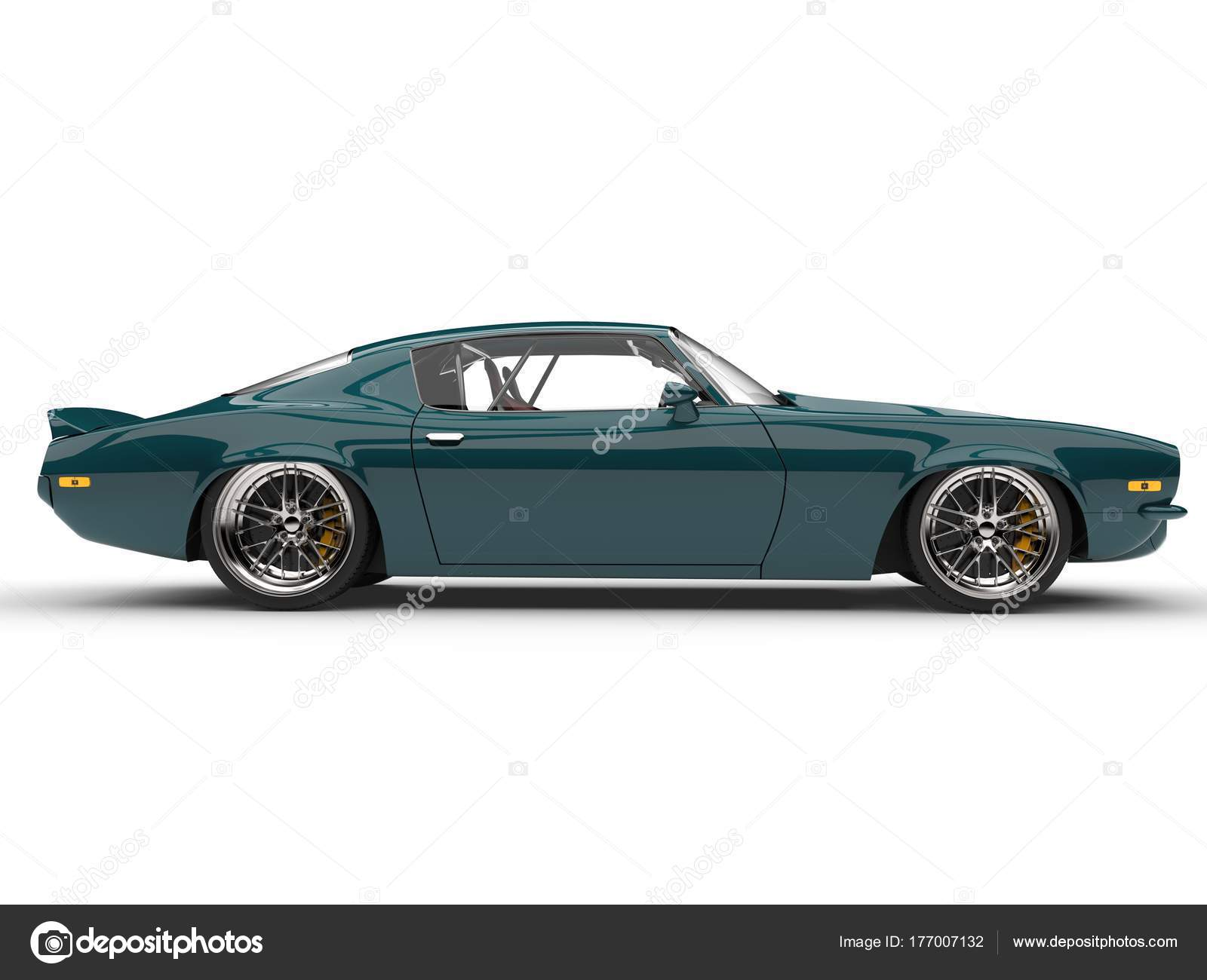 Midnight Green Classic Vintage American Car Side View — Stock Photo ...