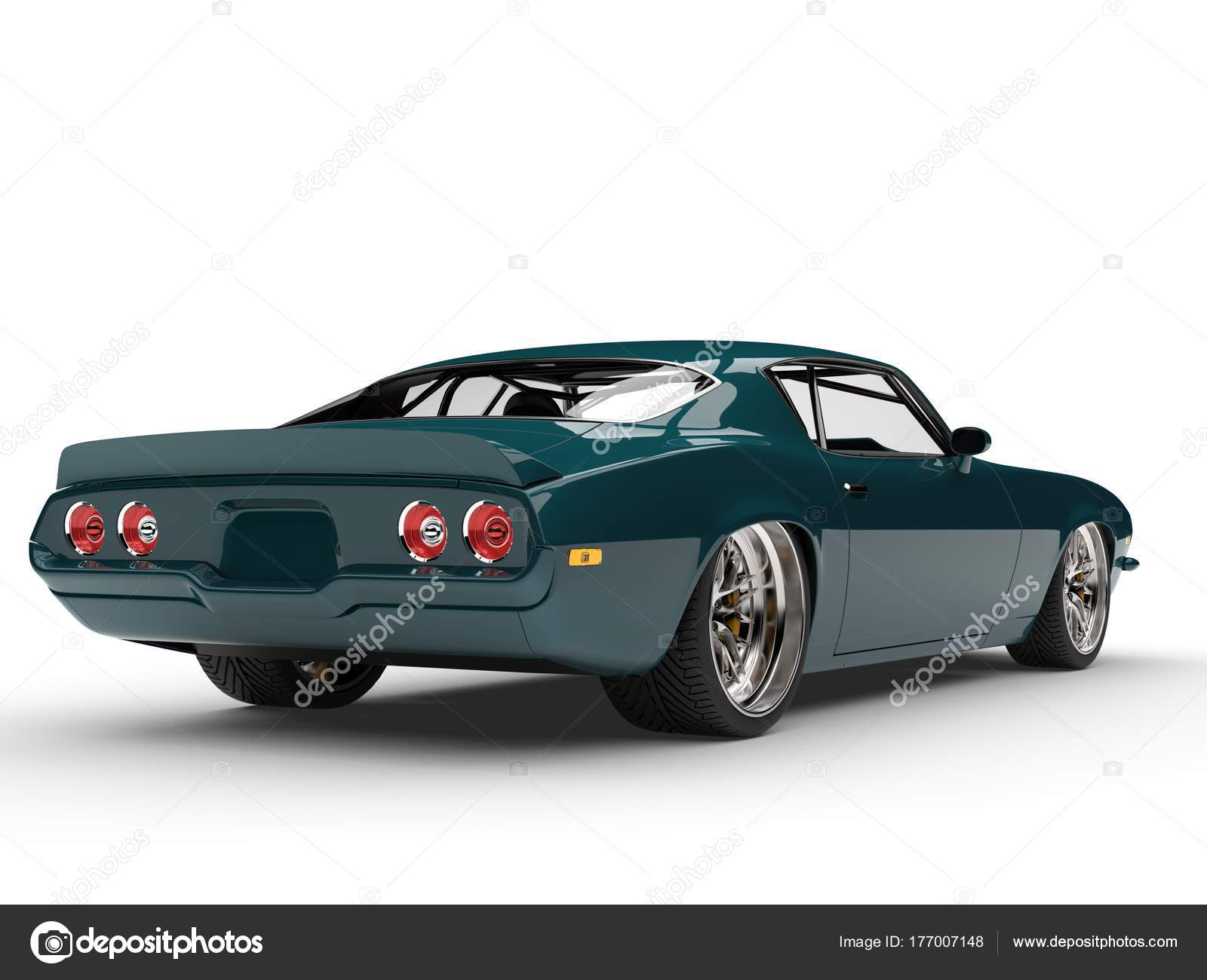 Midnight Green Classic Vintage American Car Rear View — Stock Photo ...