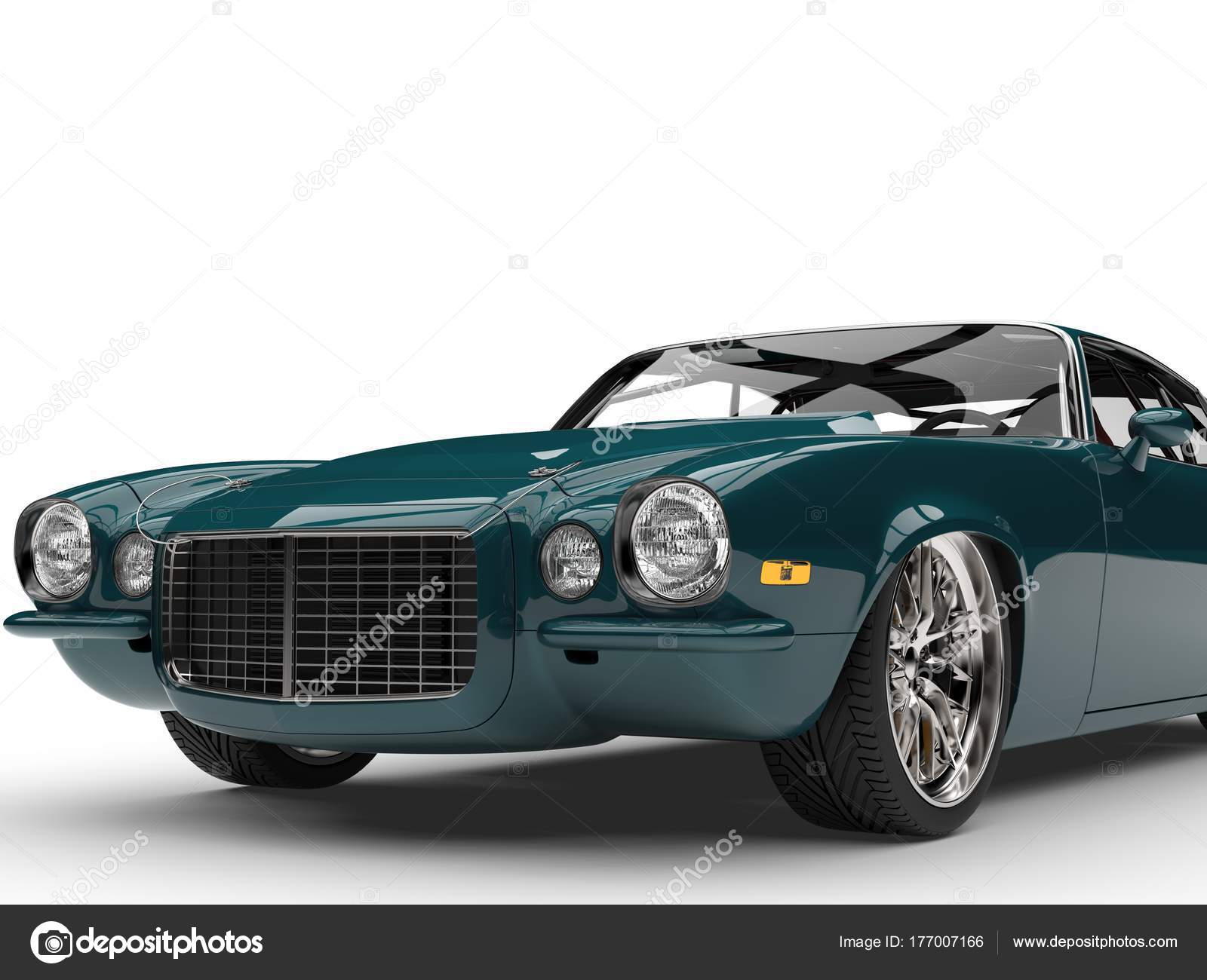 Midnight Green Classic Vintage American Car Front View Closuep Shot ...