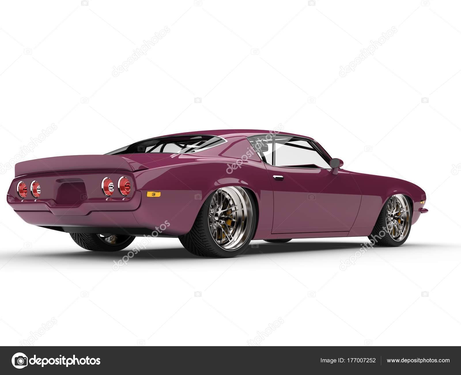 Metallic Magenta Old School Vintage American Car Rear View — Stock ...