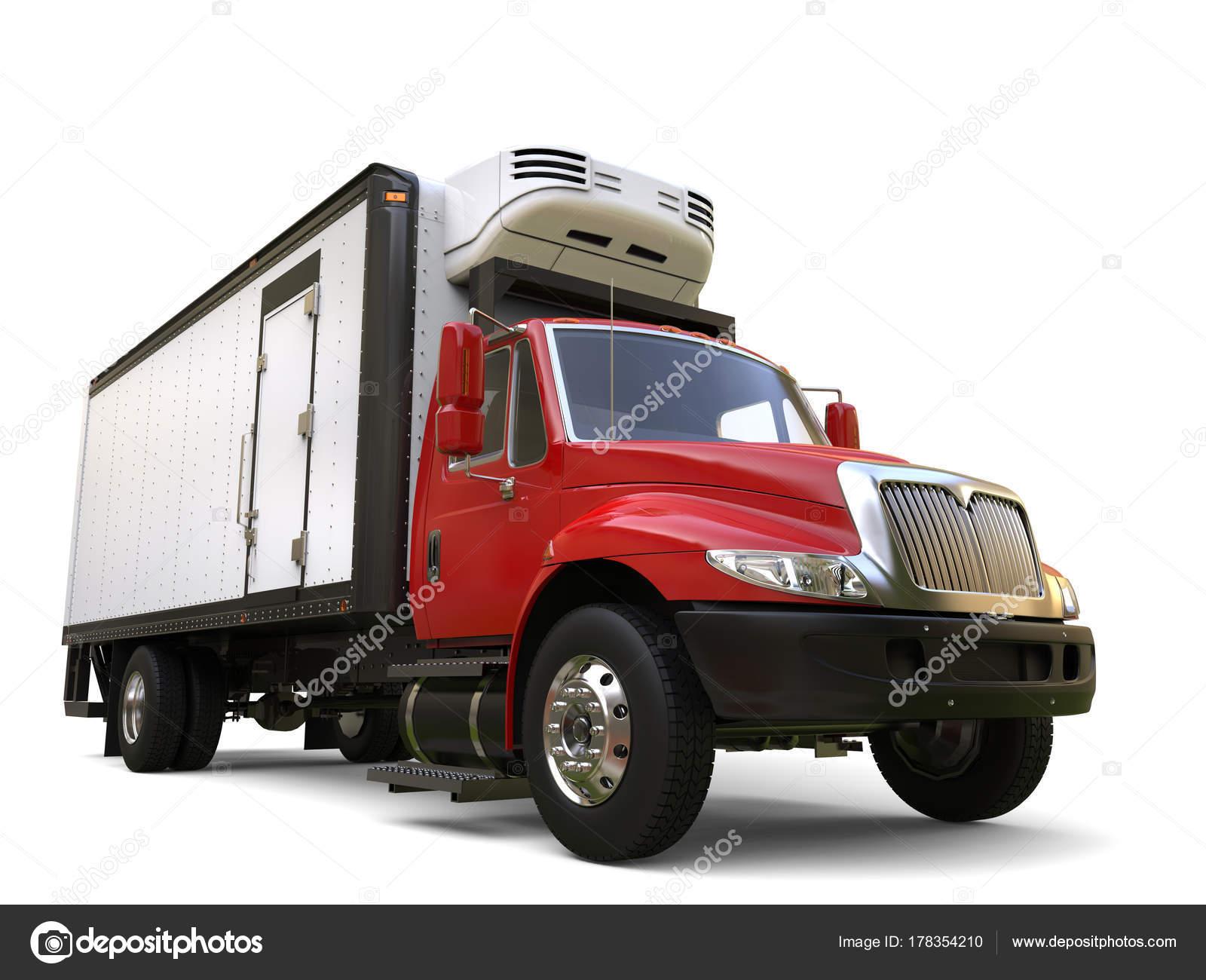 Kühlschrank Im Auto Transportieren : Roten kühlschrank lkw vorderansicht niedrigen winkel gedreht