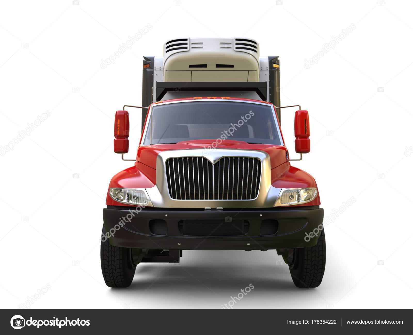 Amerikanischer Kühlschrank Transportieren : Roten kühlschrank lkw vorderansicht u stockfoto trimitrius